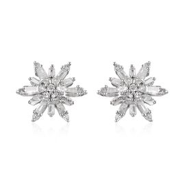 0.33 Ct Diamond Snowflake Cluster Stud Earrings with Push Back in Platinum Plated Silver