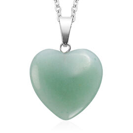 Green Aventurine Heart Pendant with Chain (Size 20) in Silver Tone 22.00 Ct.