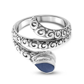 Royal Bali Collection - Peruvian Blue Opal Ring in Sterling Silver 1.37 Ct, Silver wt 5.00 Gms