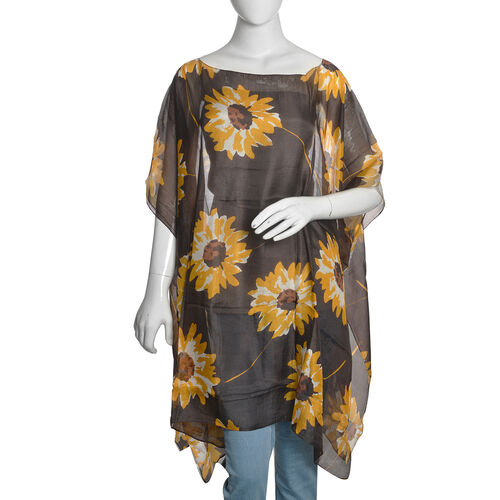 100% Mulberry Silk Chocolate, Yellow and White Colour Handscreen Sunflower Printed Kaftan (Free Size