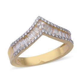 ELANZA Simulated Diamond Wishbone Ring in Yellow Gold and Platinum Overlay Sterling Silver