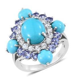 9.25 Ct Sleeping Beauty Turquoise and Multi Gemstone Floral Ring in Platinum Plated Silver
