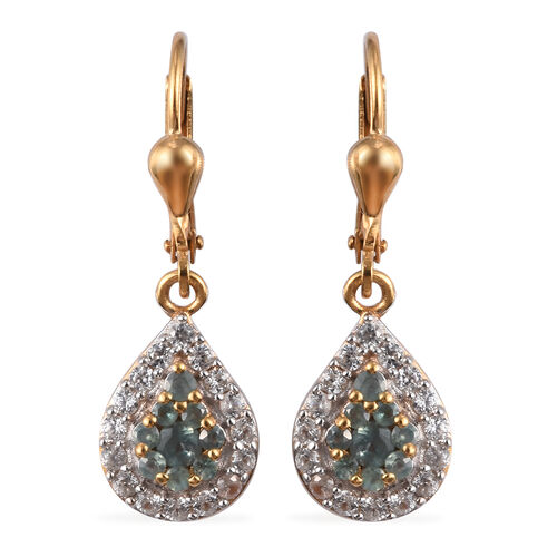 1.25 Ct Narsipatnam Alexandrite and Zircon Cluster Drop Earrings in Gold Plated Sterling Silver