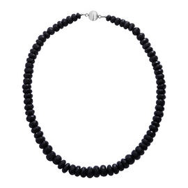 Boi Ploi Black Spinel (Rnd) Beads Necklace (Size 18) in Rhodium Overlay Sterling Silver 450.0 Ct.