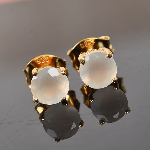Sri Lankan White Moonstone Stud Earrings (with Push Back) in 14K Gold Overlay Sterling Silver 1.00 Ct.