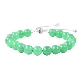One Time Deal- Green Jade (Rnd) Bracelet (Size 6.5 to 9 Adjustable) in Rhodium Overlay Sterling Silv