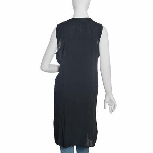 Black Colour Straight Dress with Embroidery (Free Size)