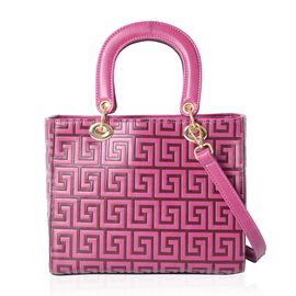 Purple Colour Embossed Greek Key Pattern Tote Bag with Removable Shoulder Strap (Size 25x20.5x12.5 C