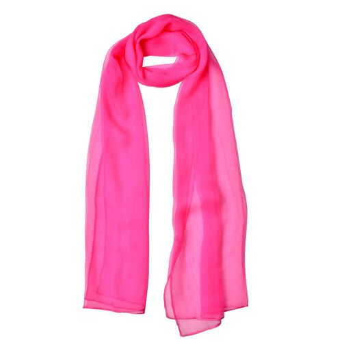 One Time Deal-100% Mulberry Silk Rubine Red Colour Scarf (Size 170X60 Cm)