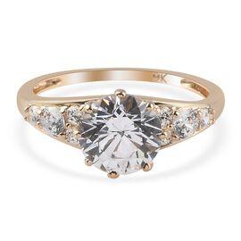 J Francis 9K Yellow Gold Ring Made with SWAROVSKI ZIRCONIA 4.08 Ct.