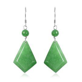 Green Jade Kite Design Hook Earrings in Rhodium Overlay Sterling Silver