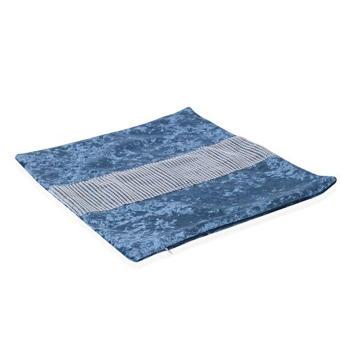 Set of 2 - Blue Colour Crush Velvet Cushion Cover (Size 42x42 Cm)