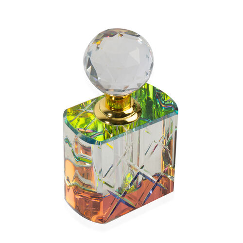 Christmas Decorative Refillable Glass Perfume Bottle with Faceted Cap (5 ML) - Flat Shape