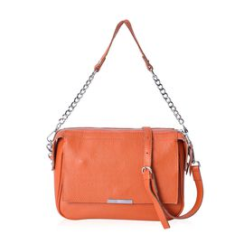 CLOSE OUT DEAL- 100% Genuine Leather Orange Colour Litchi Pattern Cross Body Bag (Size 24x9x18 Cm) w