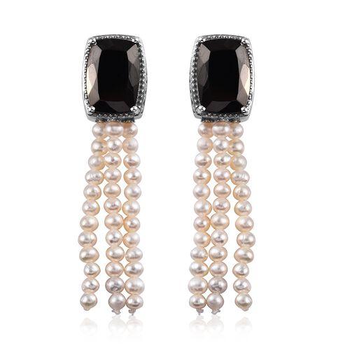 Elite Shungite (Cush 14x10 mm), Freshwater Pearl Earrings (with Push Back) in Platinum Overlay Sterl
