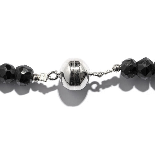 Boi Ploi Black Spinel (Rnd) Graduated Beads Necklace in Rhodium Overlay Sterling Silver .