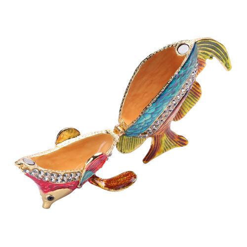 Multi Austrian Crystal Studded Enamelled Fish Trinket Box