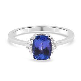 9K White Gold AA Tanzanite and Diamond Ring 1.83 Ct.