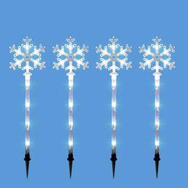 4 Pieces - 40LED Snowflake Stake Light - White