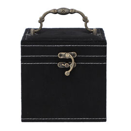 Black Velvet 3 layer jewelry box with mirror vintage style handle and lock