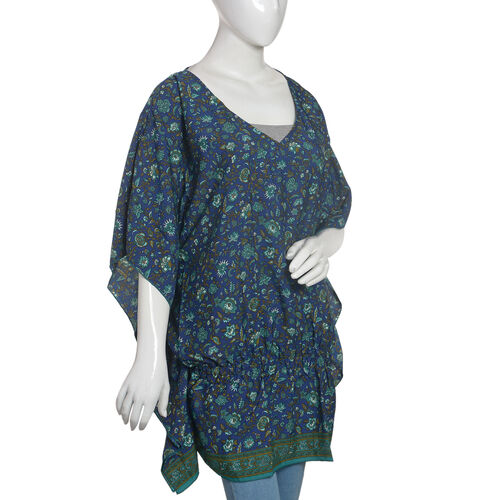 Navy Blue and Green Colour Floral Print Top (Size 85x70 Cm)