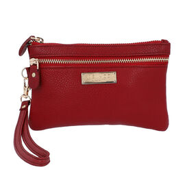 100% Genuine Leather Wristlet  Pouch with Zipper Closure (Size 12x18 Cm) - Red