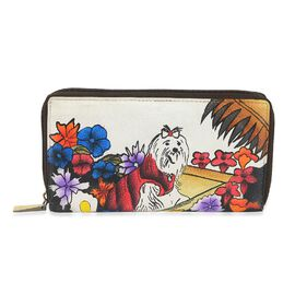SUKRITI PREMIER Super Soft Genuine Leather Handprint RFID Protected Floral and Yorkie Wallet (Size 1