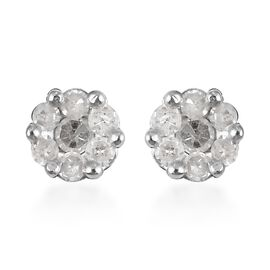 Diamond Pressure Set Floral Stud Earrings in Platinum Plated Sterling Silver
