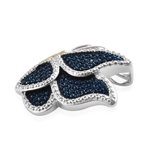 Blue Diamond (Rnd) Butterfly Pendant in Platinum, Yellow Gold and Blue Overlay Sterling Silver