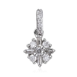 9K White Gold Natural White Diamond (Rnd and Bgt) Starburst Pendant 0.15 Ct.