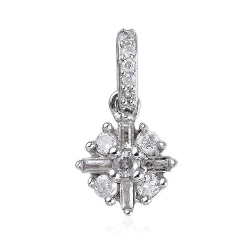 Natural White Diamond Starburst Floral Pendant in 9K White Gold