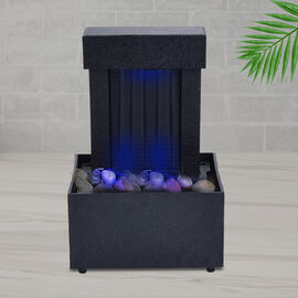 Mini Water Fountain with LED Light (Option 1) - Black (Size - 11x9x17 cm)