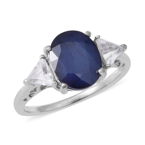 5.08 Ct Kanchanaburi Blue Sapphire and White Topaz Trilogy Design Ring in Rhodium Plated Silver