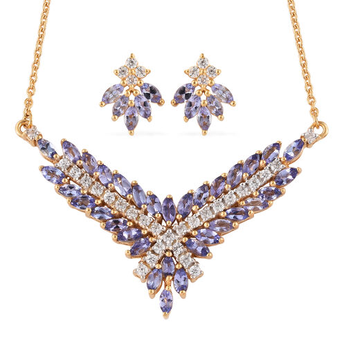 Tanzanite (Mrq), Natural Cambodian Zircon Necklace (Size 20) and Earrings (with Push Back) in 14K Gold Overlay Sterling Silver 5.250  Ct, Silver wt 8.95 Gms.