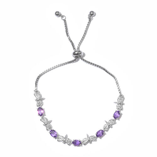 Amethyst (Ovl) Adjustable Bracelet (Size 6.5 to 9) in Silver Plated 2.000  Ct.