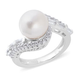White South Sea Pearl (Rnd), Natural Cambodian White Zircon and White Topaz Swirl Ring in Rhodium Overlay Sterling Silver