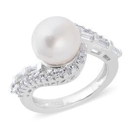 White South Sea Pearl (Rnd), Natural Cambodian White Zircon and White Topaz Swirl Ring in Rhodium Ov
