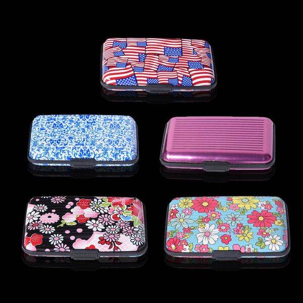 Set of 5 - RFID Blocker Card Holder (Size 11X7X2 Cm) - Purpl, Red and Blue, Black Turquoise Pattern with Colour