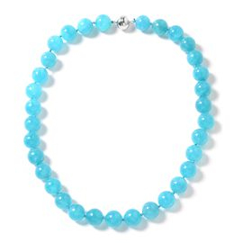 Russian Amazonite (Rnd) Beads Necklace (Size 20) in Rhodium Overlay Sterling Silver 501.000 Ct.