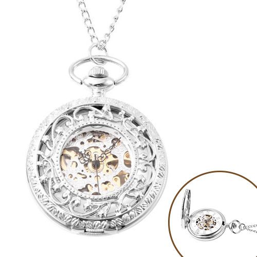 GENOA Automatic Mechanical Hollow-Out Star Pattern Skeleton Pocket Watch with Chain in Silver Tone