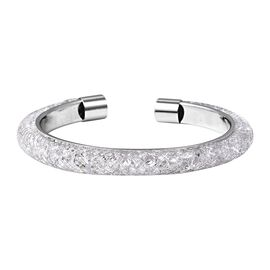 Designer Inspired-White Austrian Crystal (Rnd) Cuff Bangle (Size 7) in Silver Plated