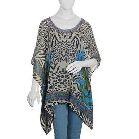 Designer Inspired- Off White, Black and Multi Colour Crystal Embellished Leopard Pattern Top (Size 8