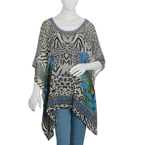 Designer Inspired- Off White, Black and Multi Colour Crystal Embellished Leopard Pattern Top (Size 8