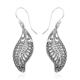 Designer Inspired- Sterling Silver Balinese Jawan Leaf Hook Earrings