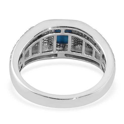 Arizona Sleeping Beauty Turquoise and Natural Cambodian Zircon Ring in Platinum Overlay Sterling Silver 0.92 Ct, Silver wt 6.00 Gms
