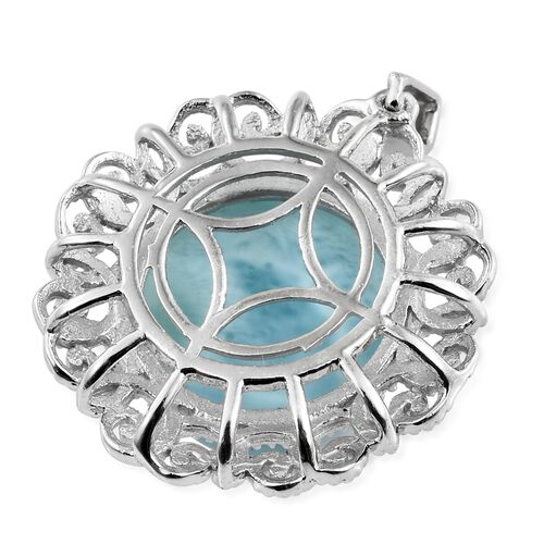Larimar (Rnd) Art Deco Pendant in Platinum Overlay Sterling Silver 13.500 Ct.