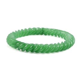 Limited Available Hand Carved Green Jade Bangle 174.50 Ct Size 7 Inch