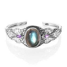 Artisan Crafted Labradorite (Ovl 25x18 mm), Amethyst Cuff Bangle (Size 7.5) in Sterling Silver 28.50