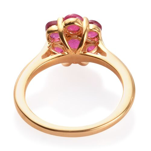 African Ruby (Rnd ) Pressure Set Floral Ring in 14K Gold Overlay Sterling Silver 2.00 Ct.