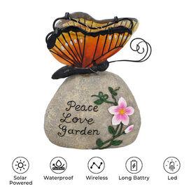 Garden Decorative Buttery Resin Solar Lamp (Size:16x10x20Cm) - Yellow and Orange